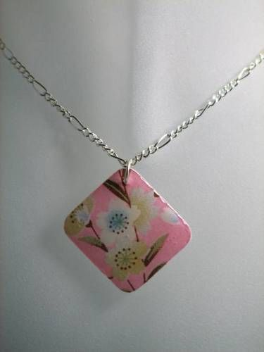 Experiment with Shrinky Dinks - decoupage with scrapbook paper