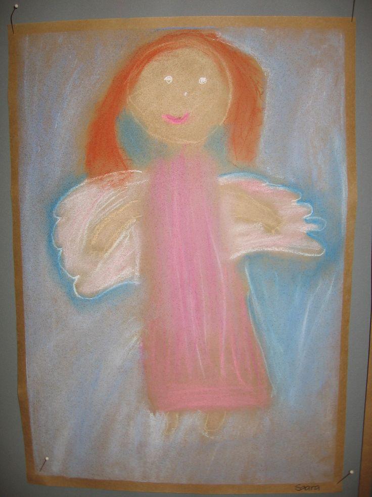 1.lk enkeli pölypastelliliiduilla