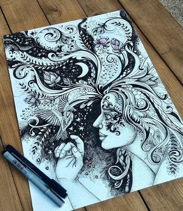 """Let in unbelievable"" coloring page for adults  by Egle Stripeikiene."