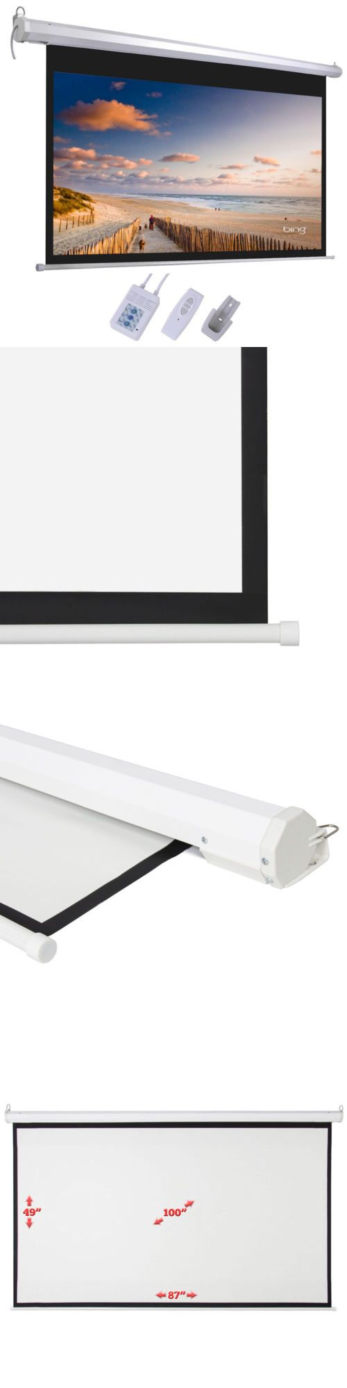 Projection Screens and Material: 100 Electric Motorized Remote Projection Screen Hd Movie Projector White 16:9 -> BUY IT NOW ONLY: $51.59 on eBay!
