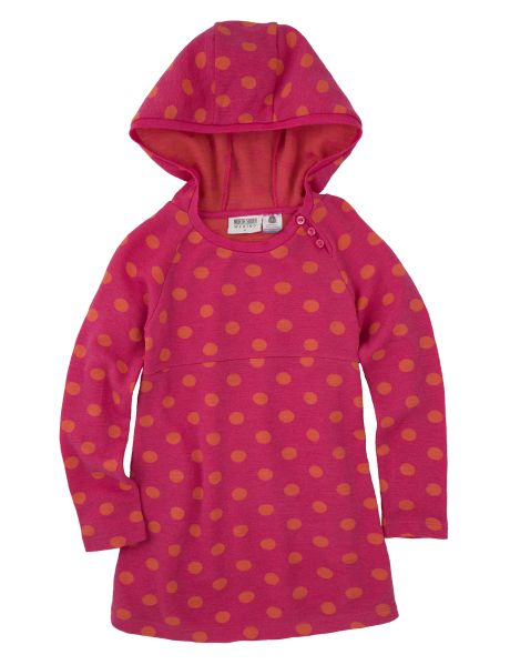 Made from 100% merino wool this hooded tunic features a spot design.