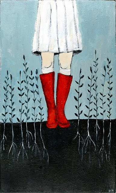 red rain boots