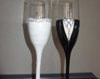 Wedding toasting flutes, hand painted customized