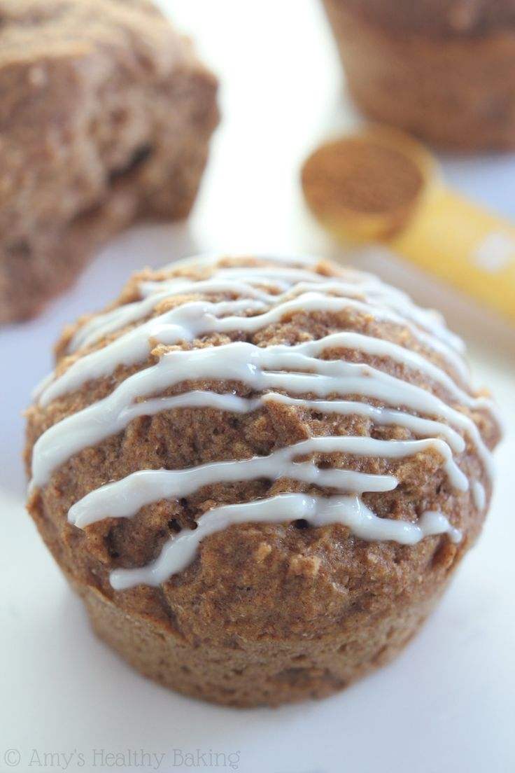 Chai Latte Muffins with Vanilla Drizzle -- these healthy muffins taste just like the drink! So warm & cozy. They always disappear in minutes!