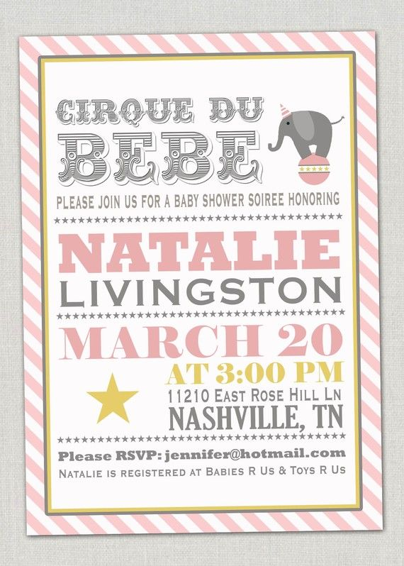 Baby Shower Invitation Pink Circus Shindiz Invitations Carnival Showers