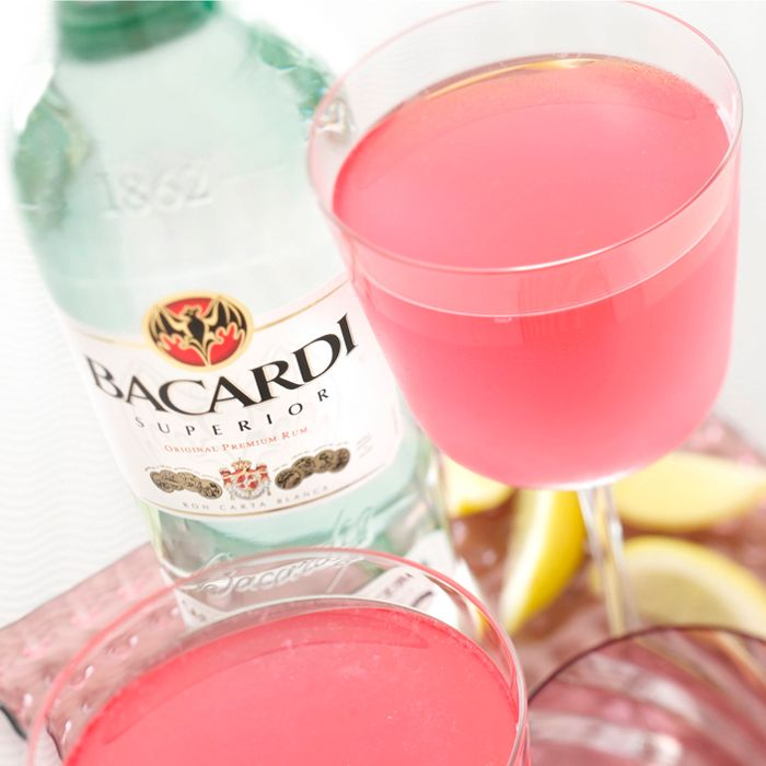 3 oz Bacardi Superior Rum - 2 oz Fresh lime juice - .25 oz Sugar - 1 oz Grenadine. Add all the ingredients to a shaker and fill with ice. Shake, and strain into a cocktail glass.