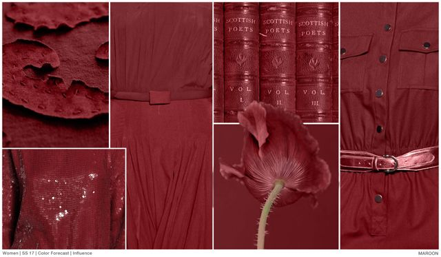 #FashionSnoops #colortrends seen on #WeConnectFashion. SS17 top Women's market jewel tone color: Maroon