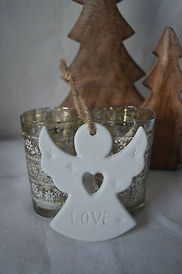 VINTAGE WHITE CERAMIC 'LOVE' ANGEL HEART CHRISTMAS TREE HANGING DECORATION