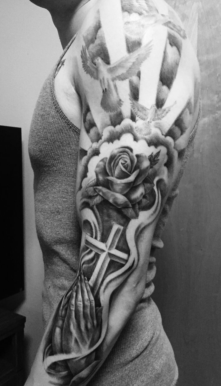 Tattoo. Full sleeve. Rose. Doves. Praying hands. Religious.