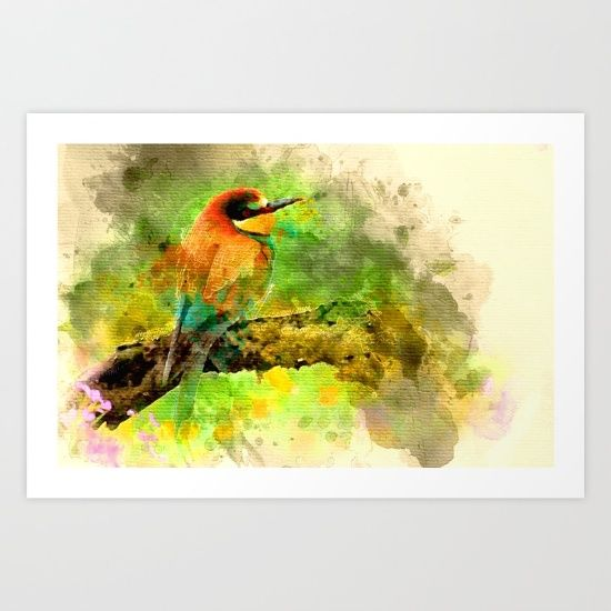 Collect your choice of gallery quality Giclée, or fine art prints custom trimmed by hand in a variety of sizes with a white border for framing. Bird, watercolor, colorful, painting, art, nature, animal