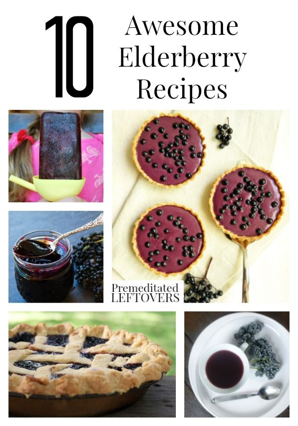 10 Awesome Elderberry Recipes including recipes for elderberry syrup, elderberry pie, elderberry tea, and tips on buying and growing elderberries.