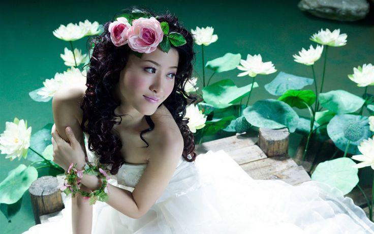 Women water bride asians lotus flower flower in hair wallpaper | 1920x1200 | 13133 | WallpaperUP