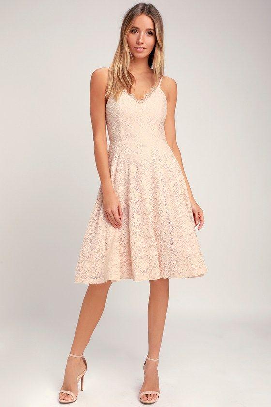 2cc286fe022c Lulus | Sweet Like Sugar Blush Pink Lace Midi Skater Dress | Size ...