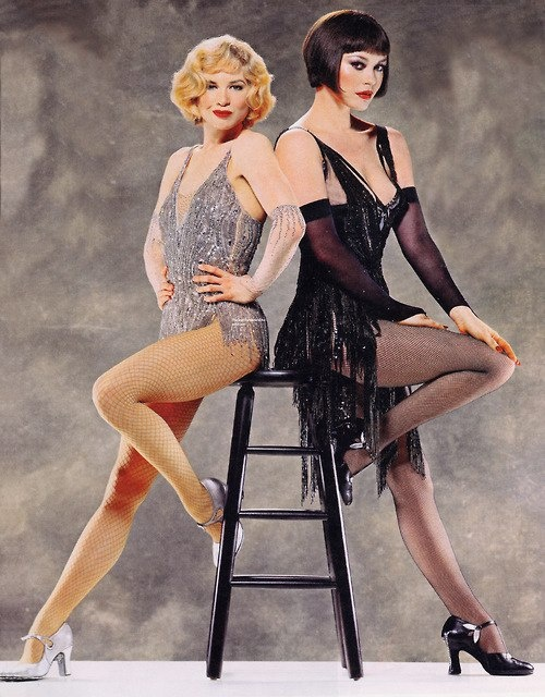"(Left) Renee Zelwegger as Roxie Hart (Right) Catherine Zeta- Jones as the notorious Velma Kelly. ""Chicago"" (One of my Favorite movies by the way!)"
