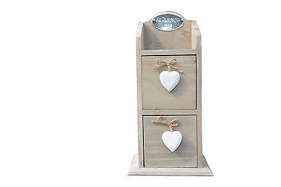 Wooden Table Top Drawers With Heart Pulls~Spices~Jewellery~Rustic Shabby Chic