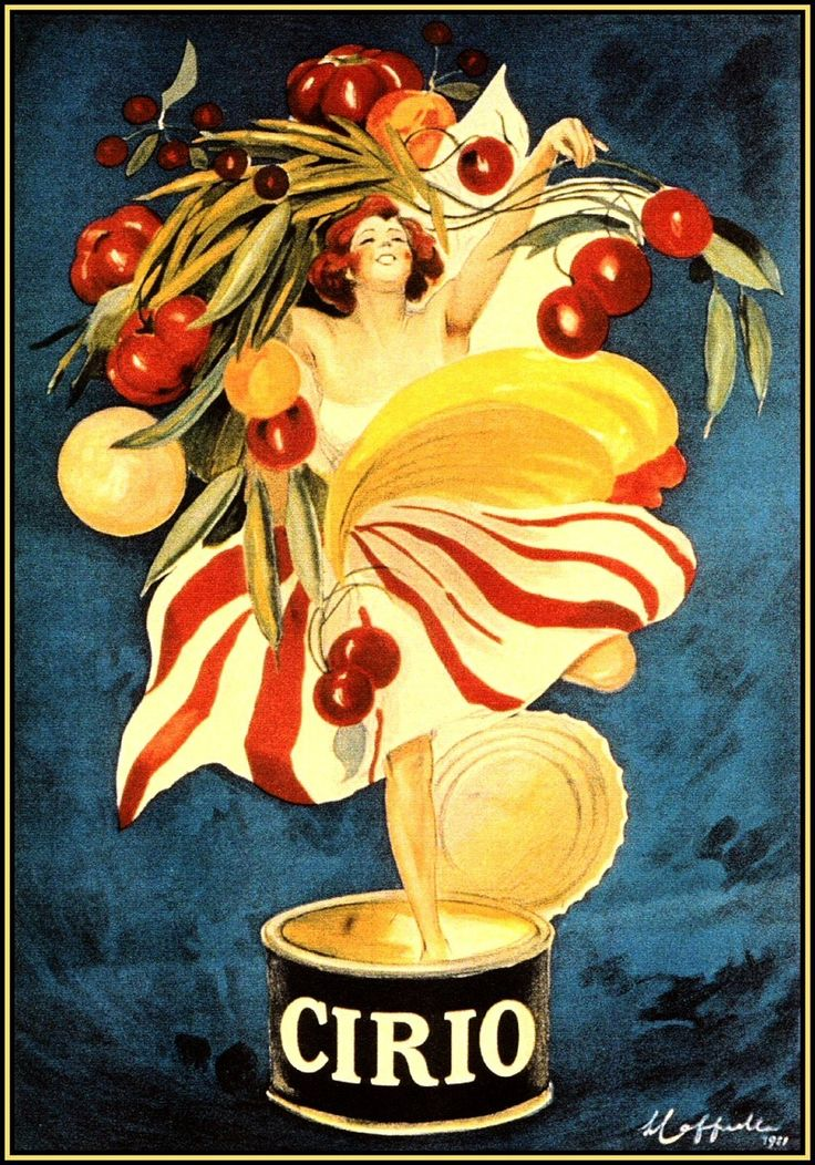 vintage poster for Cirio canned foods, Leonetto Cappiello                                                                                                                                                                                 More