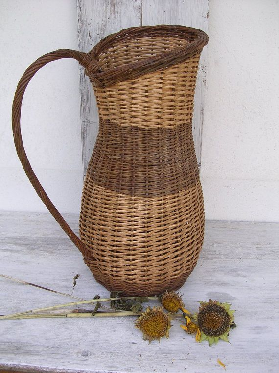 French Vintage Large Jug Wicker Willow Basket-Shabby chic-Cottage chic -French Baskets - old baskets - Wicker baskets