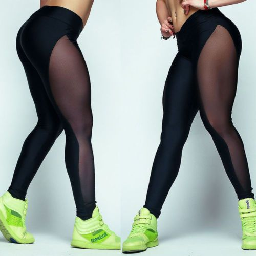 Womens-Active-Wear-Black-Sheer-Side-Leggings-Pants-Sports-Training-Gym-Yoga-CA