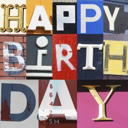 Verjaardagskaarten - Letters Happy Birthday