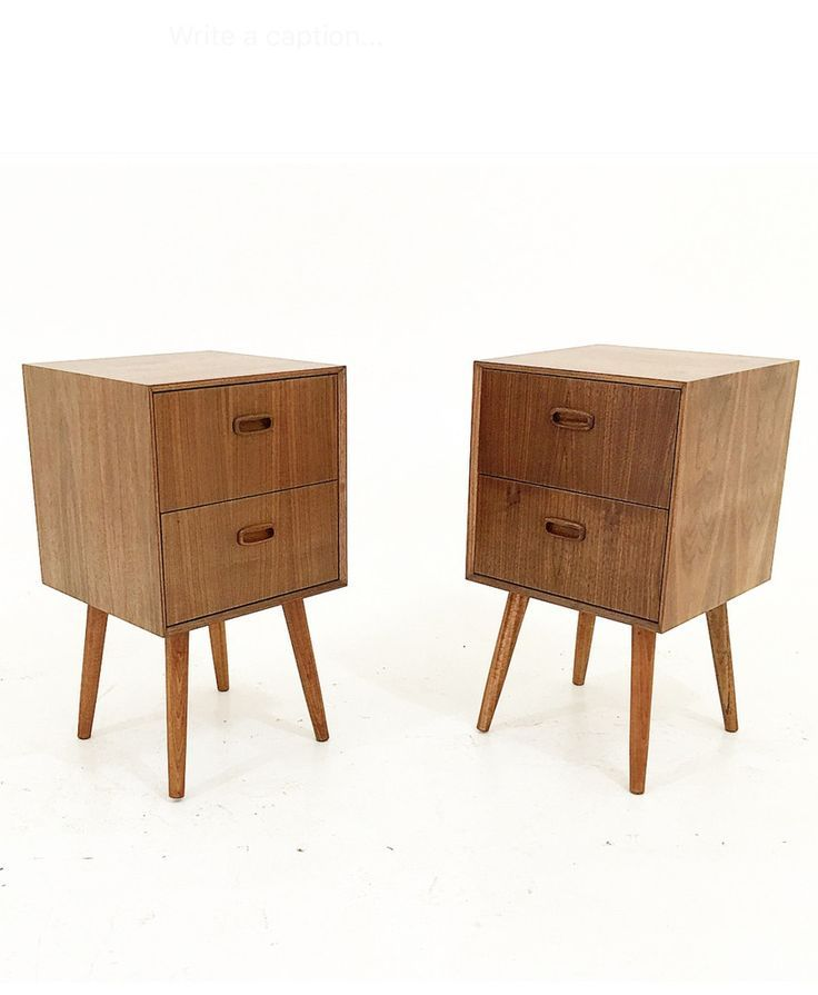 """Beautiful hand crafted pair of Walnut nightstands. Multi drawer nightstands with teak handles and tapered legs. Dimensions: 16"""" WX 16""""D X 28""""H White Glove shipping available through out the continenta"""
