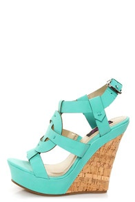 Yoki Celia Teal Sun Cross T-Strap Platform Wedge Sandals...Matte, minty teal vegan leather forms a stunning, open toe, T-strap upper that's entwined with a circle to form a classic sun cross shape