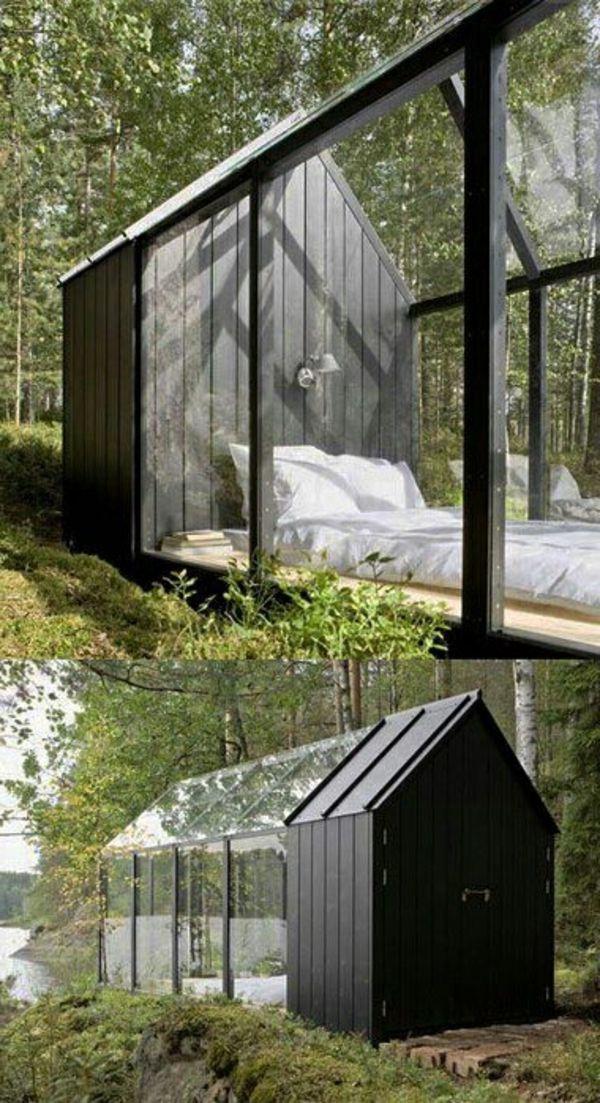 chambre à coucher dans un abri de jardin