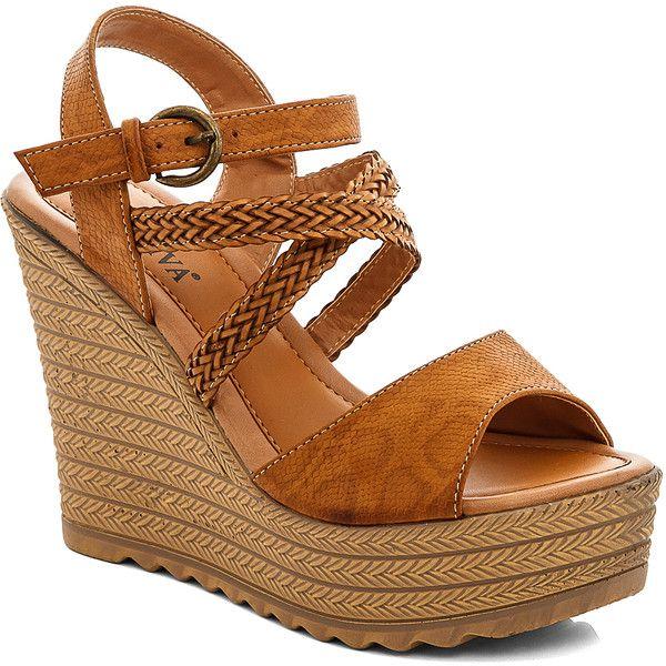 Lady Godiva Khaki Braided-Strap Wedge Sandal ($19) ❤ liked on Polyvore featuring shoes, sandals, platform wedge shoes, high heel wedge shoes, multi-strap sandals, synthetic shoes and high heel platform sandals