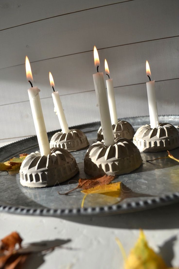 So cute - use mini bunt pan molds to make adorable candle holders.