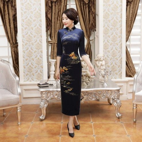 Classic Navy Velour Half Sleeve Full Length Cheongsam Evening Dress