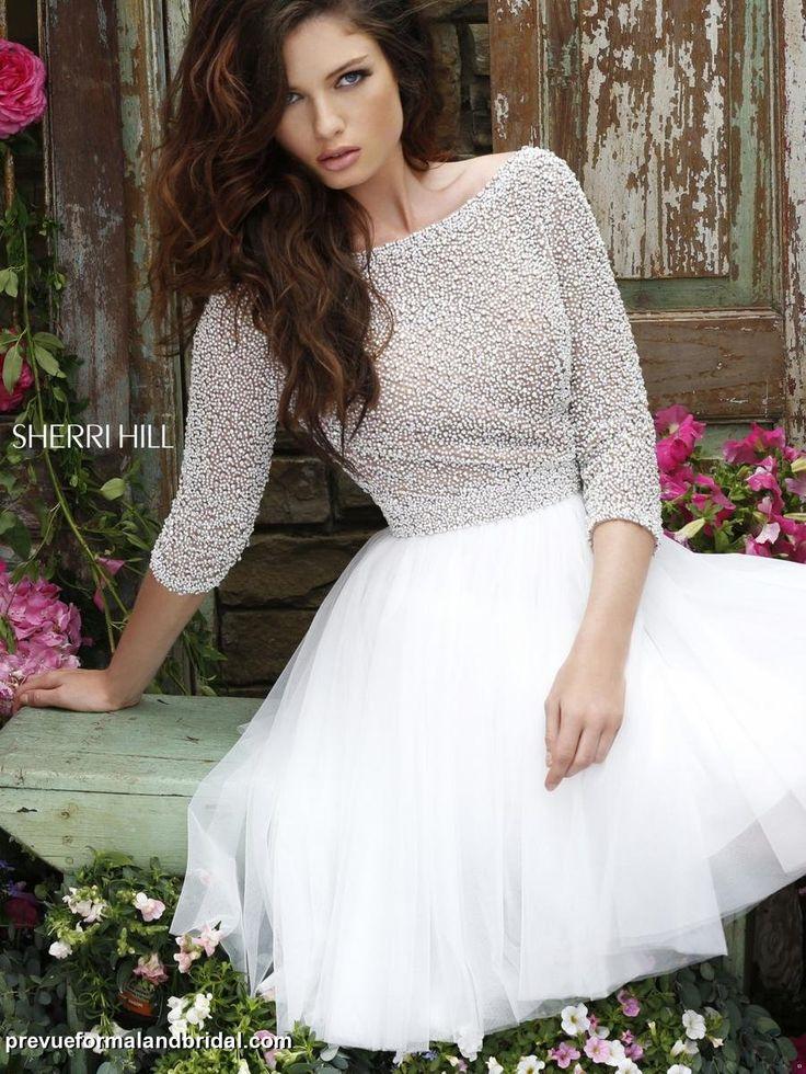 Informal wedding dress. Second wedding dress. Wedding reception dress. Sherri Hill 11310. Short white dress with beading and pearls.