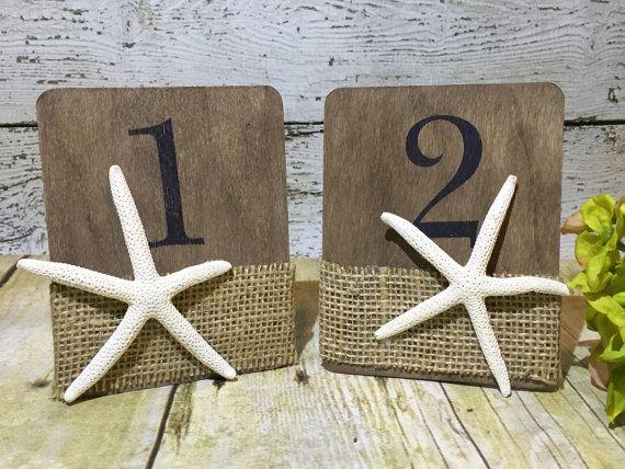 Starfish Table Numbers Starfish Wedding Table by TreasuredInTime