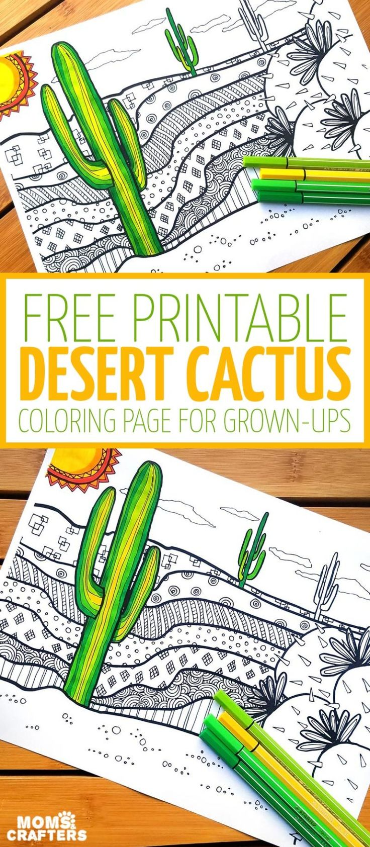 Free Cactus Coloring Page for Adults