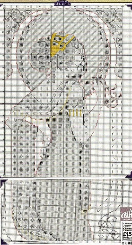 0 point de croix art nouveau mucha lady  - cross stitch part 2