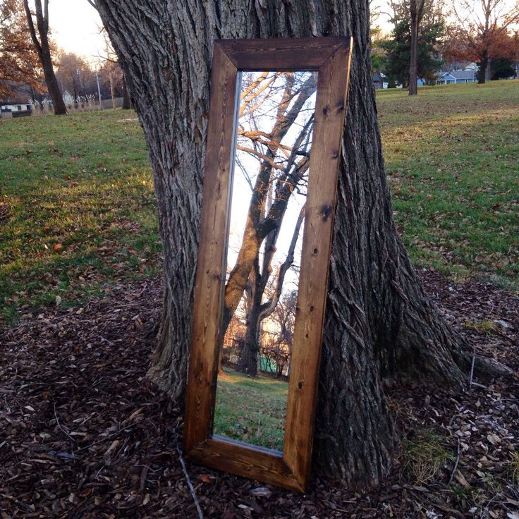 53'' x 18'' Rustic Framed Mirror with Black Felted Backside, Full Length Indoor Mirror, Handmade Frame with Dark Walnut Finish by MidCountryLife on Etsy https://www.etsy.com/listing/213321623/53-x-18-rustic-framed-mirror-with-black