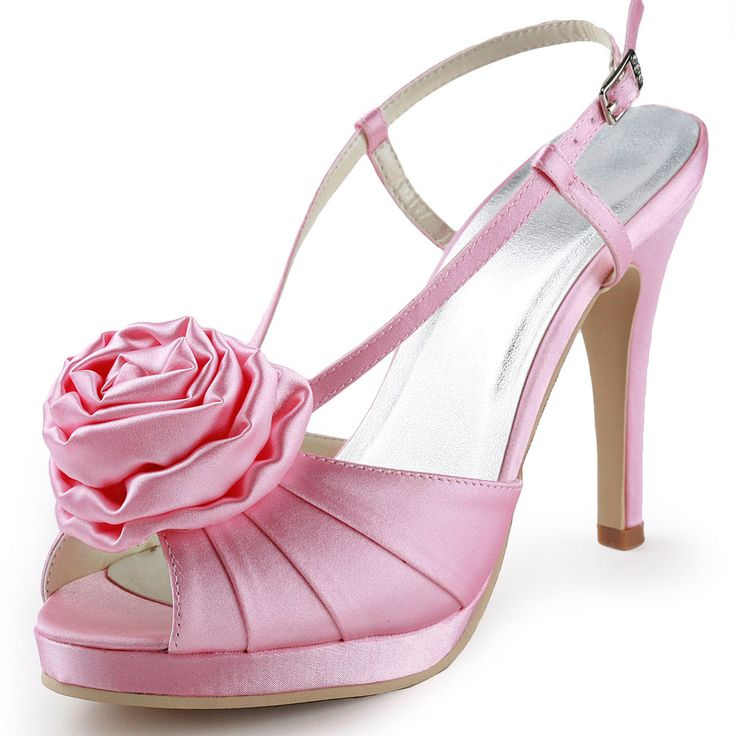Noble Fashion Waterproof High With Satin Flower Wedding Shoes Party Shoes [4114120078] - Veaul.com