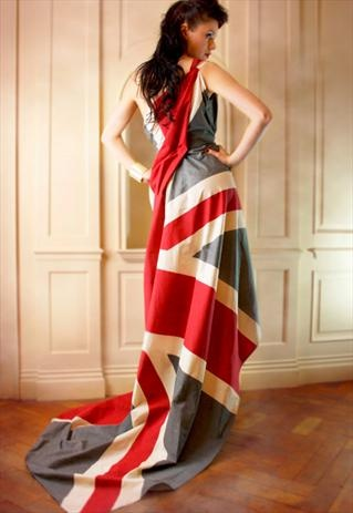 I want to wear this around the house and feel grand: THE BRITANNIA UNION JACK DRESS