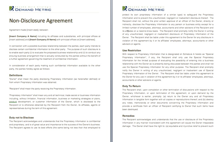 Non Disclosure Agreement - Use this to protect yourself when - non disclosure agreements