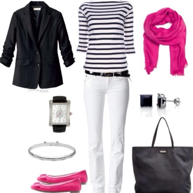 I love how the hot pink scarf brings the black-striped shirt to life. I'd  probably only use the scarf as my