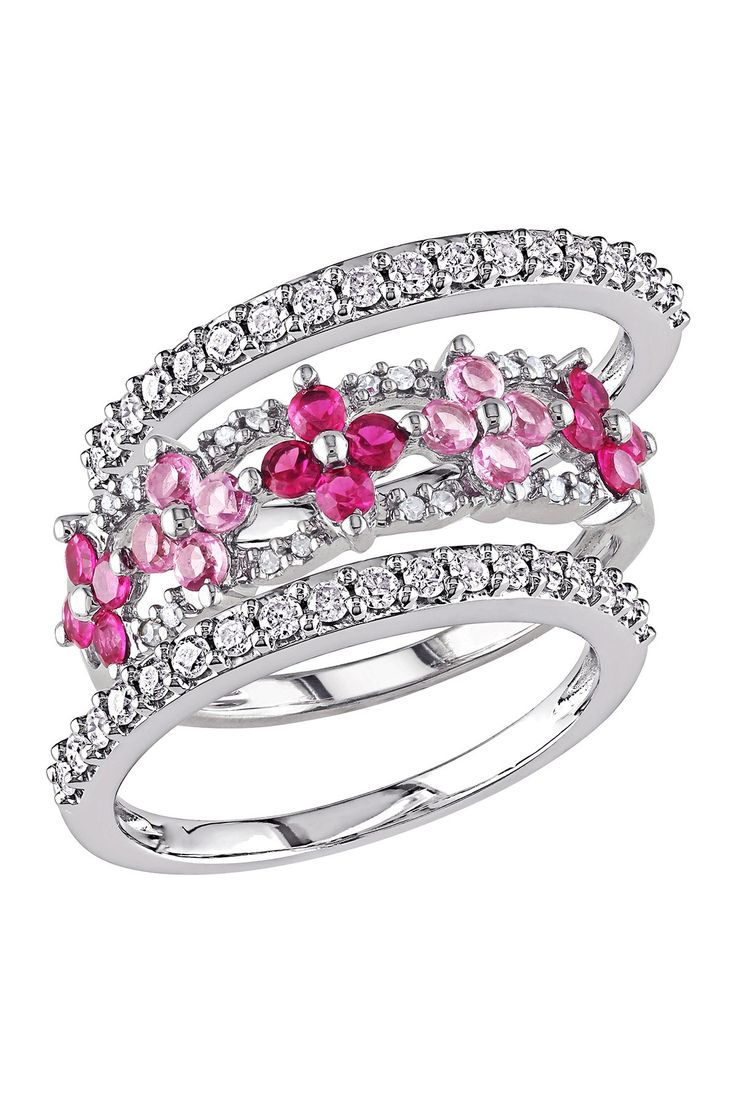 10K White Gold White Diamond, Created Ruby & Created Pink Sapphire Flower Ring Set | Nordstrom Rack