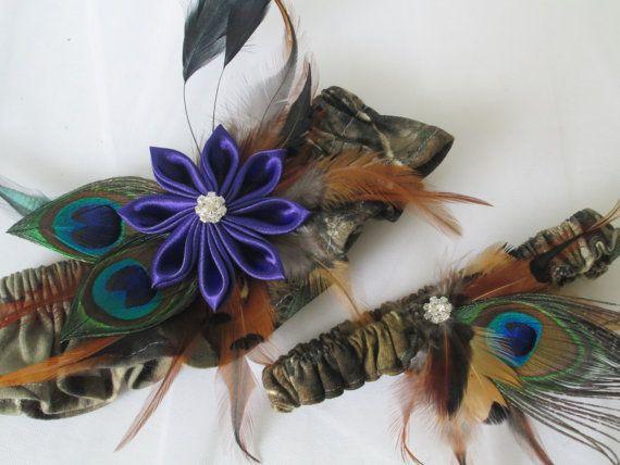 REAL TREE Camo Wedding Garter Set Purple by NakedOrchidGarters