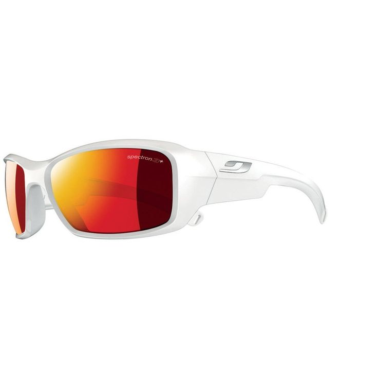 Julbo Kid's Rookie Sunglasses with Spectron 3+ Lens, Shiny White, 8-12 Years. Spectron 3+ blocks 88% of visible light, Lite-weight shock resistance, Flash treatment improves visible light filtering, mirror effect on lenses. Wrap around shape for a good vision spectrum and protection. Curved Temples for good hold on the face and head. Cord Attachment. Asian fit: the ergonomics of the frame are adapted for Asian facial shapes.