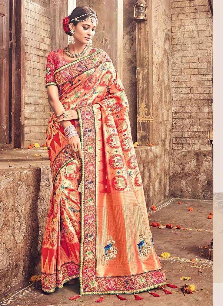 Peach Banarasi Silk #WeddingSarees With Embroidered,Print,Lace Works. Order Wedding Sarees Online @Chennaistore.com