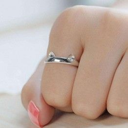 OPPOHERE Silver Plated Cat Ear Ring