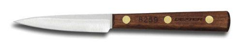"""Dexter Traditional Wood Handle 3"""" Spear Point Paring Knife by Dexter Russell. $11.91. Full Tang. Walnut Handle. High Carbon Steel Blade. Dexter Traditional™ Wood Handle 3"""" Spear Point Paring KnifeFor those little jobs, this Dexter Russell Traditional™ Spear Point Parer is just what you need. You will love the feel of the warm walnut handle.Model #: 8259, Item 15251 Walnut Handle Made In USA Collection: Traditional™ High Carbon Steel Blade Individually Ground an..."""
