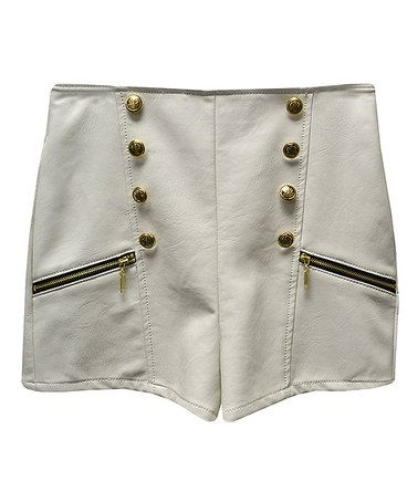 Look what I found on #zulily! Ivory Faux Leather Nautical Shorts by Potter's Pot #zulilyfinds