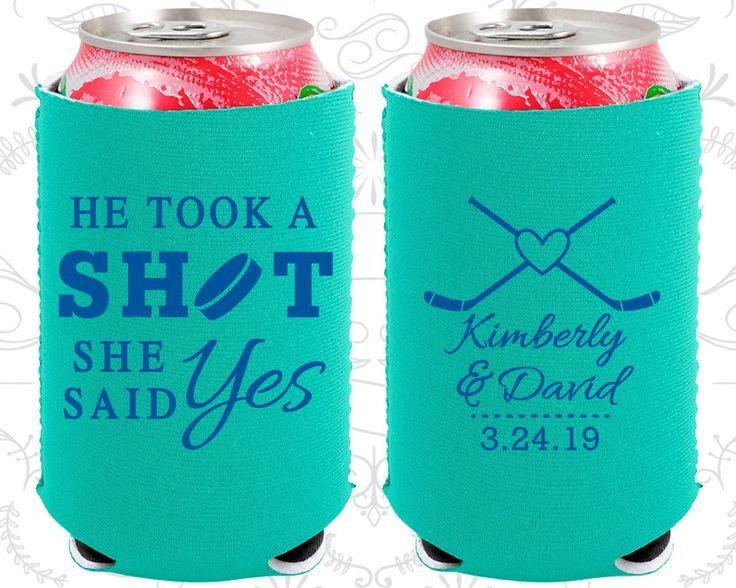 He Took a Shot, She Said Yes, Neoprene Wedding, Hockey Wedding, Sports Wedding, Neoprene Wedding Favors (323)