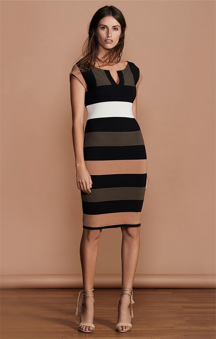 DELLA ROCCA STRIPED STRETCH PONTI FITTED CAP SLEEVE DRESS