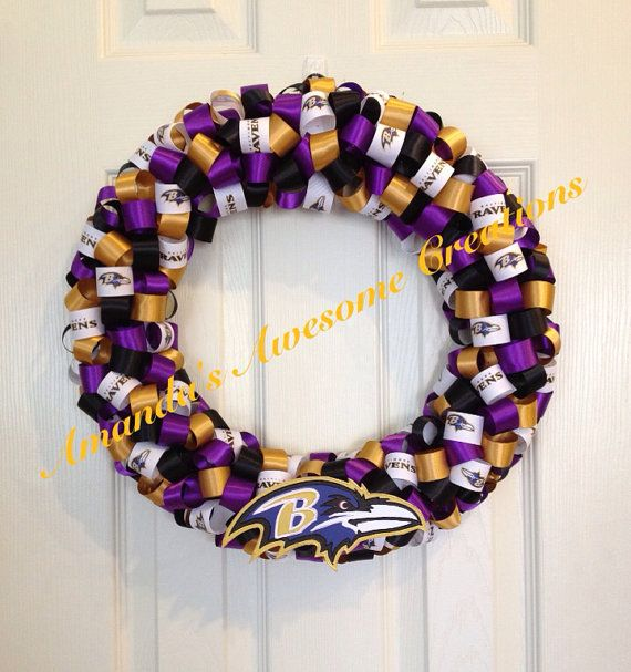 Baltimore Ravens Football Ribbon Wreath by AmandasCreations11, $35.00