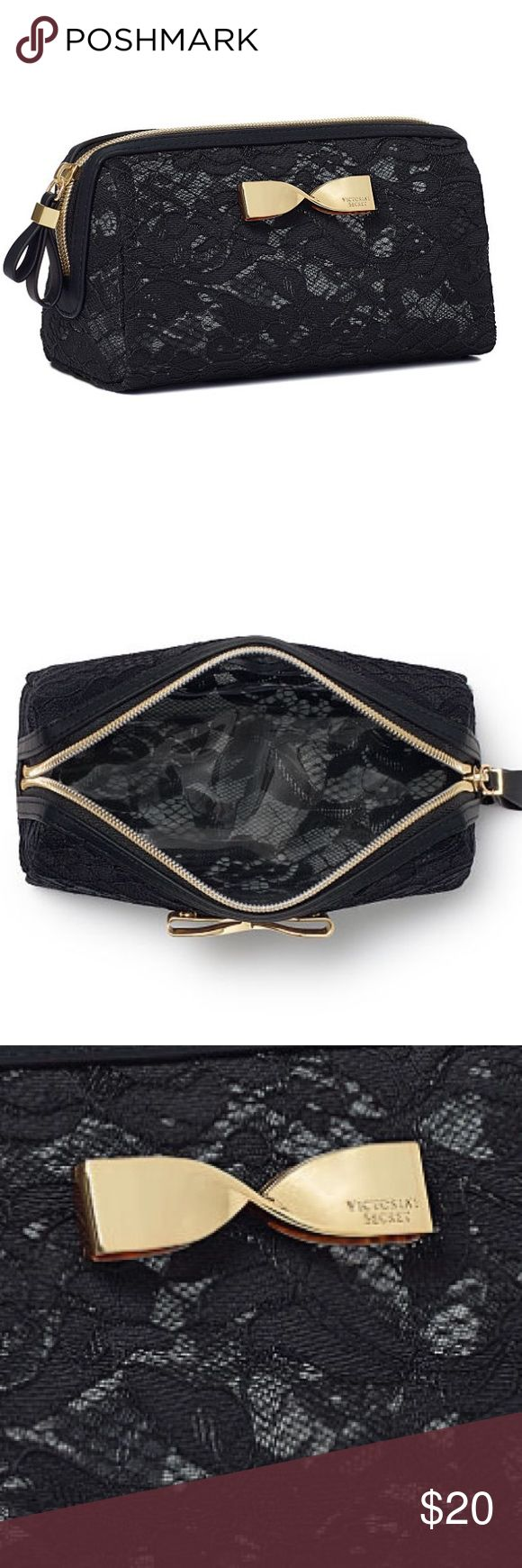"❤️Black Lace VS Makeup Bag❤️ Brand new! Small enough to tuck inside another bag! Easy to clean, perfect for makeup, brushes and small beauty essentials! Measures 7""L X 2 1/4""W X 2 3/4""H Victoria's Secret Bags Cosmetic Bags & Cases"