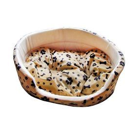 Canine Fleece Paw Print Oval Bed for Medium to Large Dogs - Buy Online Pet Food, Treats, Toys, Clothes, Socks, Shoes, Raincoat | Online Pet Shop | Online Pet Store India | petsGOnuts.com